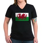 Welsh Flag Women's V-Neck Dark T-Shirt