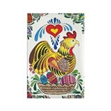 Chicken with Ornate Egg Borde Rectangle Magnet