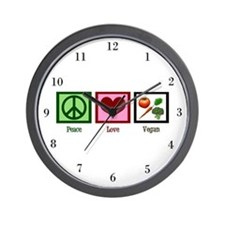 Peace Love Vegan Wall Clock