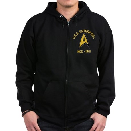 U.S.S. Enterprise Retro Zip Hoodie (dark)