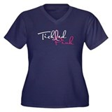 Tickled Pink on Dark Women's Plus Size V-Neck Dark