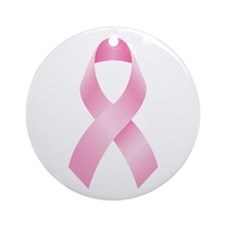 Pink Ribbon Breast Cancer Ornament (Round)