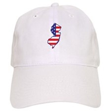NJ USA Flag Map 1 Baseball Cap