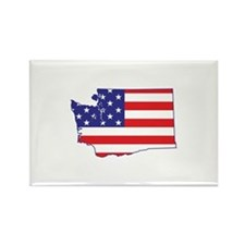 WA USA Flag Map 1 Rectangle Magnet