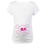 Pink Skull Halloween Maternity Tee Shirt