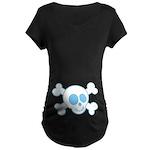 Blue Skull Halloween Black Maternity T-shirt