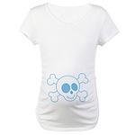 Blue Skull Belly Print Halloween Maternity Tee