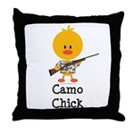 Rifle Camo Chick Hunting Throw Pillow