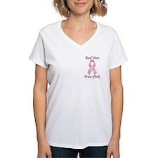 Real men wear pink Breast Cancer Women's V-Neck T-