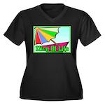 Travel Club Women's Plus Size V-Neck Dark T-Shirt