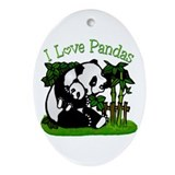 I Love Pandas Oval Ornament