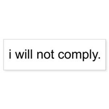 i will not comply - White Car Sticker