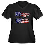 Bingo USA Women's Plus Size V-Neck Dark T-Shirt
