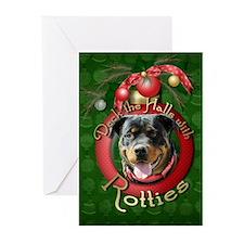 Christmas - Deck the Halls - Rotties Greeting Card