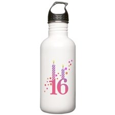 16th Birthday Candles Water Bottle