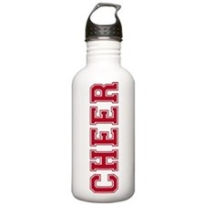 Cheer In Red Text Water Bottle