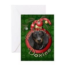 Christmas - Deck the Halls - Doxies Greeting Card