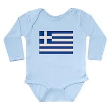 Greek Flag Long Sleeve Infant Bodysuit