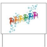 Rainbow Patio Chairs Yard Sign