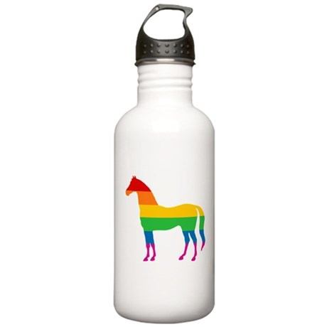 Rainbow Stripe Horse Stainless Water Bottle 1.0L