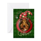 Christmas - Deck the Halls - Collies Greeting Card