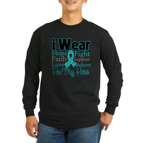 Hero - Ovarian Cancer Long Sleeve Dark T-Shirt