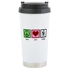 Peace Love Cycling Ceramic Travel Mug