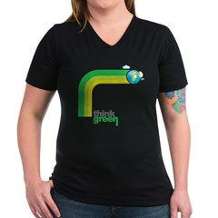 Think Green Earth Rainbow Women's V-Neck Dark T-Sh