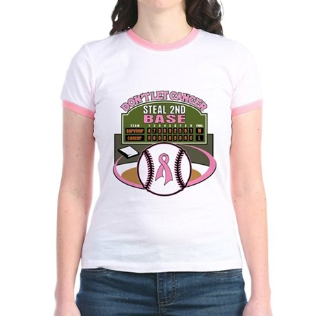 Dont Let Cancer Steal 2nd Base Jr. Ringer T-Shirt