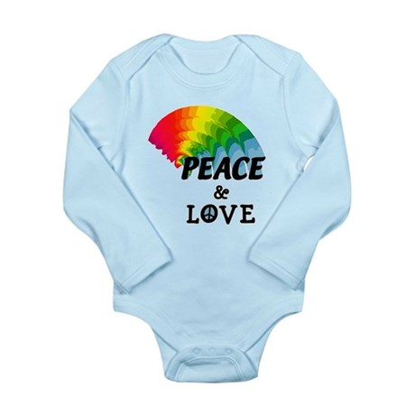 Rainbow Peace and Love Long Sleeve Infant Bodysuit