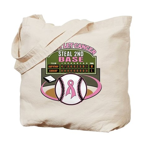 Dont Let Cancer Steal 2nd Base Tote Bag