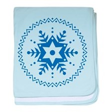Pennsylvania Dutch Blue Snowflake baby blanket