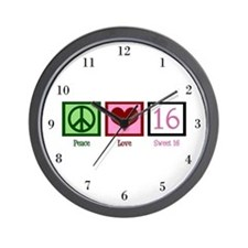 Peace Love Sweet 16 Wall Clock