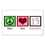 Peace Love Fifteen Sticker (Rectangle)