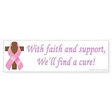 Pink Ribbon and Cross Sticker (Bumper)