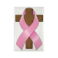 Pink Ribbon and Cross Rectangle Magnet (100 pack)