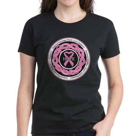 BreastCancer EntwinedRibbon Women's Dark T-Shirt