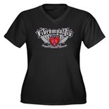 Fibromyalgia Wings Women's Plus Size V-Neck Dark T