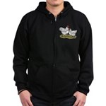 Orpington White Chickens Zip Hoodie (dark)