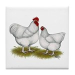 Orpington White Chickens Tile Coaster