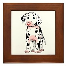 Dalmatian Puppy Cartoon Framed Tile