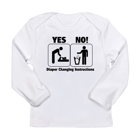 Diaper Changing Instructions Long Sleeve Infant T-