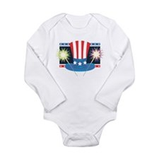 Patriotic Hat and Sparklers Long Sleeve Infant Bod