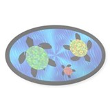Sea Turtles Oval Decal