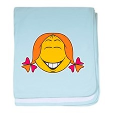 Cute Girl Smiley Face Infant Blanket