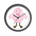 Pink Spotted Easter Chick Wall Clock