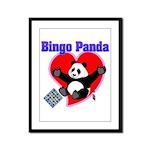 Bingo Panda Neon Heart Framed Panel Print
