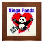 Bingo Panda Neon Heart Framed Tile