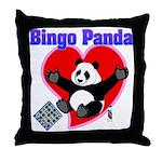 Bingo Panda Neon Heart Throw Pillow