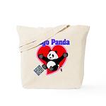 Bingo Panda Neon Heart Tote Bag